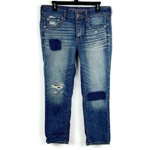 American Eagle Boy Crop Distressed Patched Jeans 6